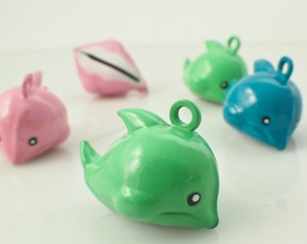 6 Dolphin Bells 17mm - Pink, Green or Blue