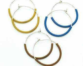 That's A Wrap Niobium Earrings - Hypoallergenic - Large 25mm Hoops - 20 gauge - You Pick Color