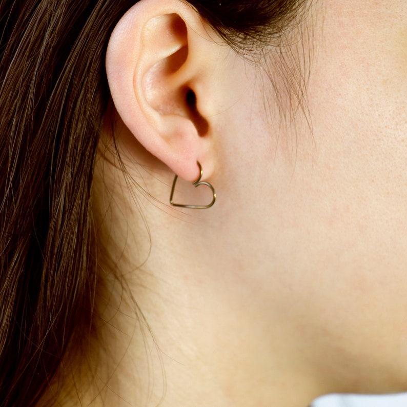 Heart Piercing  22 20 18 16 14 gauge 15mm ID  Ear Lobe image 0