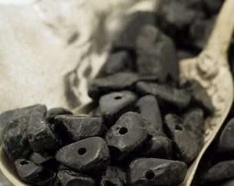 100 - Black Tourmaline Chip Beads - 24 Grams - 100% Guaranteed Satisfaction