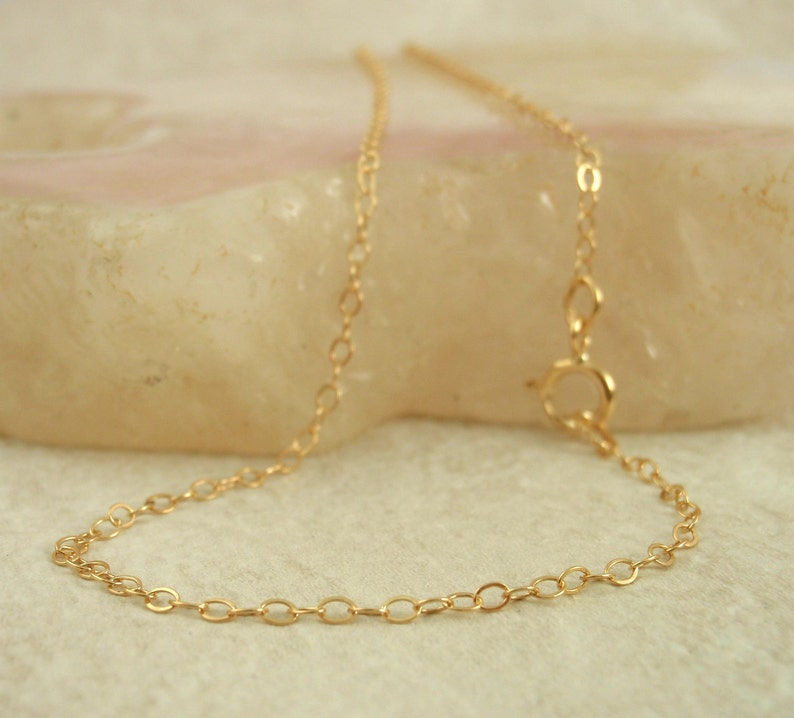 14kt Gold Filled Chain By the Foot or Finished Chain  Made in the USA 1.4mm Fine Flat Cable