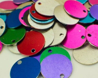 25 Round Economical Aluminum Stamping Blanks - 17.5mm - 10 Anodized Finishes Available - Handmade Jump Rings Included - 100% Guarantee
