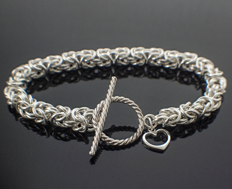Bracelet en argent argent argent Sterling grand prêts ou Kit - au-delà de base Byzantine - superbe Chainmaille ccec13