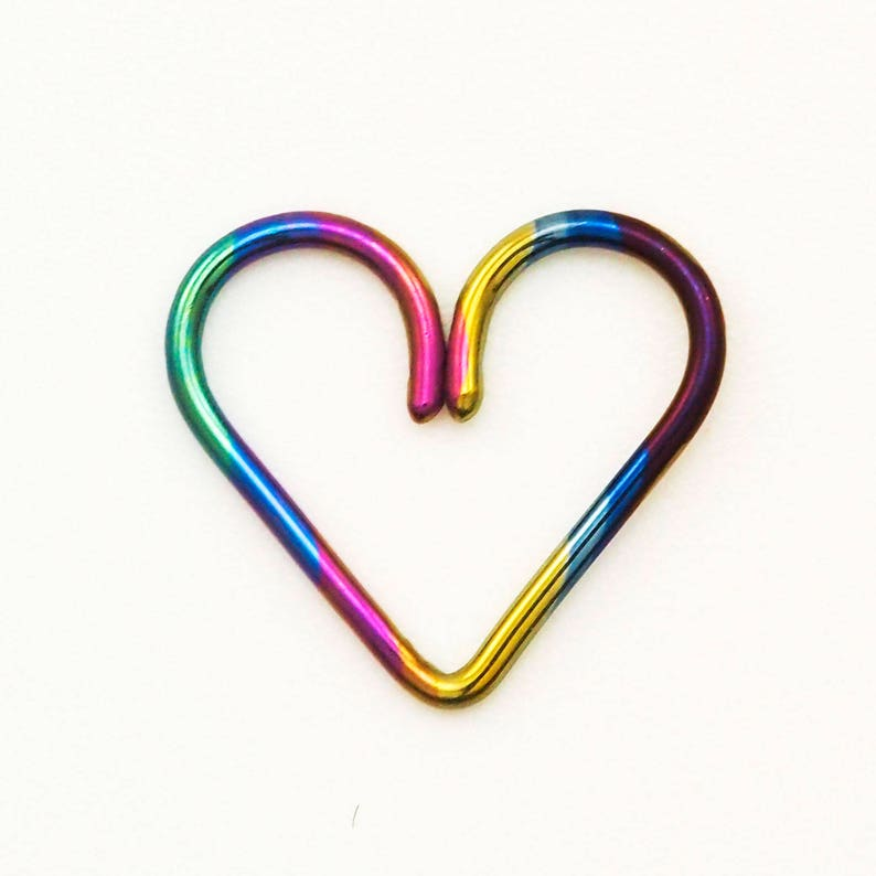 1 Heart Hoop  Hypoallergenic Earring in Your Pick of Color image 0