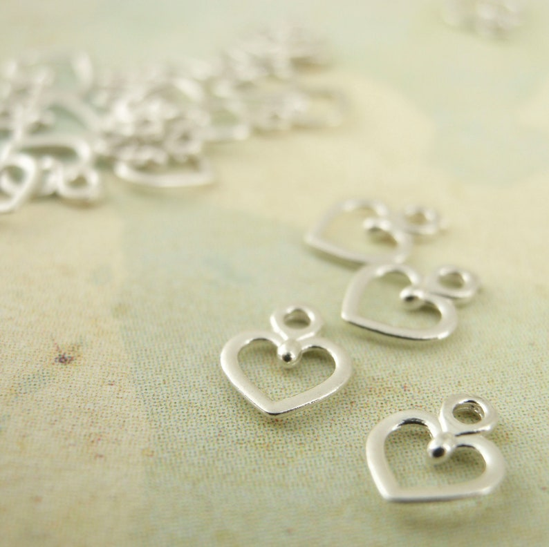 20 Petite Sterling Silver Heart Charms  100% Guarantee image 0