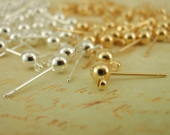 20 Pairs 4mm Ball Ear Posts with Loops - Ear Backs Included - Silver or Gold Plated - 100% Guarantee