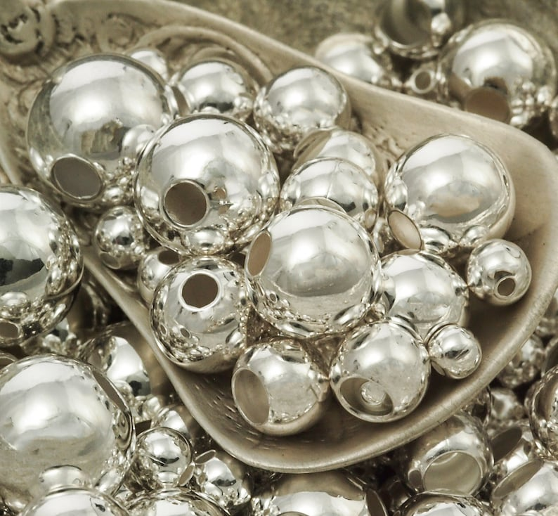 50 Silver Plated Smooth Round Beads - You Pick Size 2.5mm, 3mm, 4mm, 5mm, 6mm, 7mm, 8mm, 9mm, 10mm or Mix photo