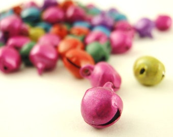 100 Colorful But Quiet Bells 6mm - You Pick from Jewel Tones, Pastel, Gold Tone, Silver Tone or Antique Copper