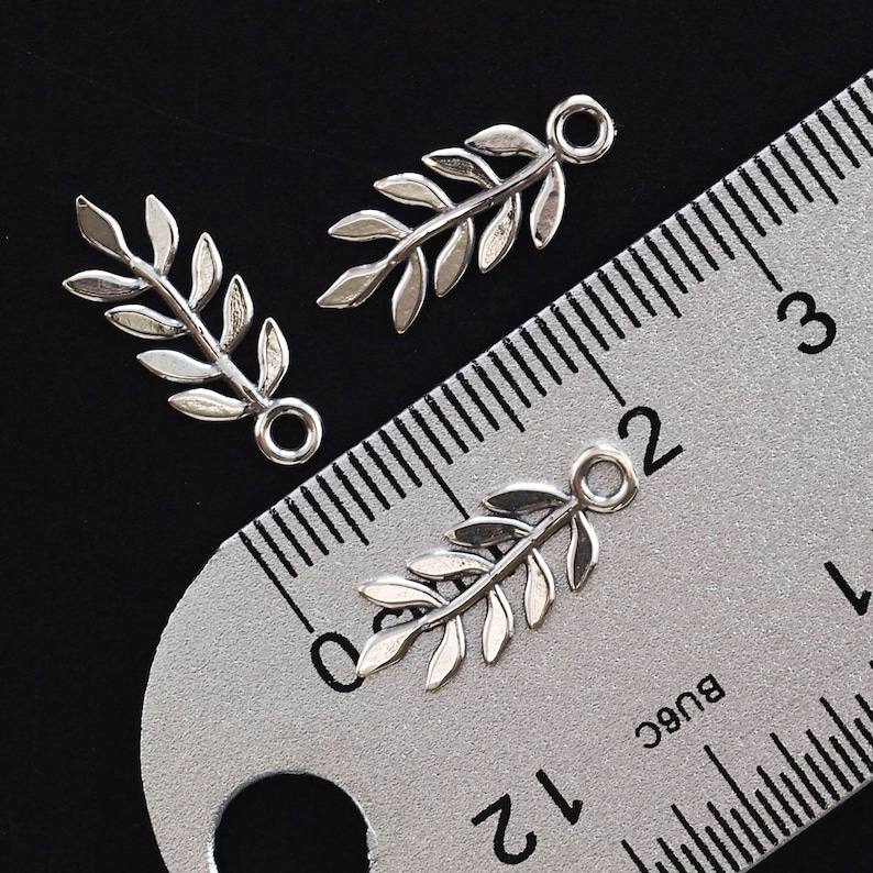 2 Simple Sterling Silver Leaf Charms 18mm X 7mm