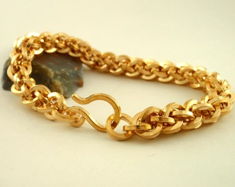 Uber Square Chainmail Bracelet- Intermediate Jens Pind Weave Kit or Ready Made - Brass, Bronze, Copper or Stainless Steel