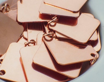 6 Jewelry Grade Blanks - Square Stamping Discs and Jump Rings - 25mm - Polished and Filed - You PICK Bronze or Copper - 100% Guarantee