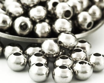 30 - Stainless Steel Drum Beads - You Choose Size