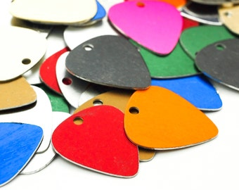 10 Guitar Pick Economical Aluminum Stamping Blanks - 30mm X 25mm - Rainbow Mix - 100% Guarantee