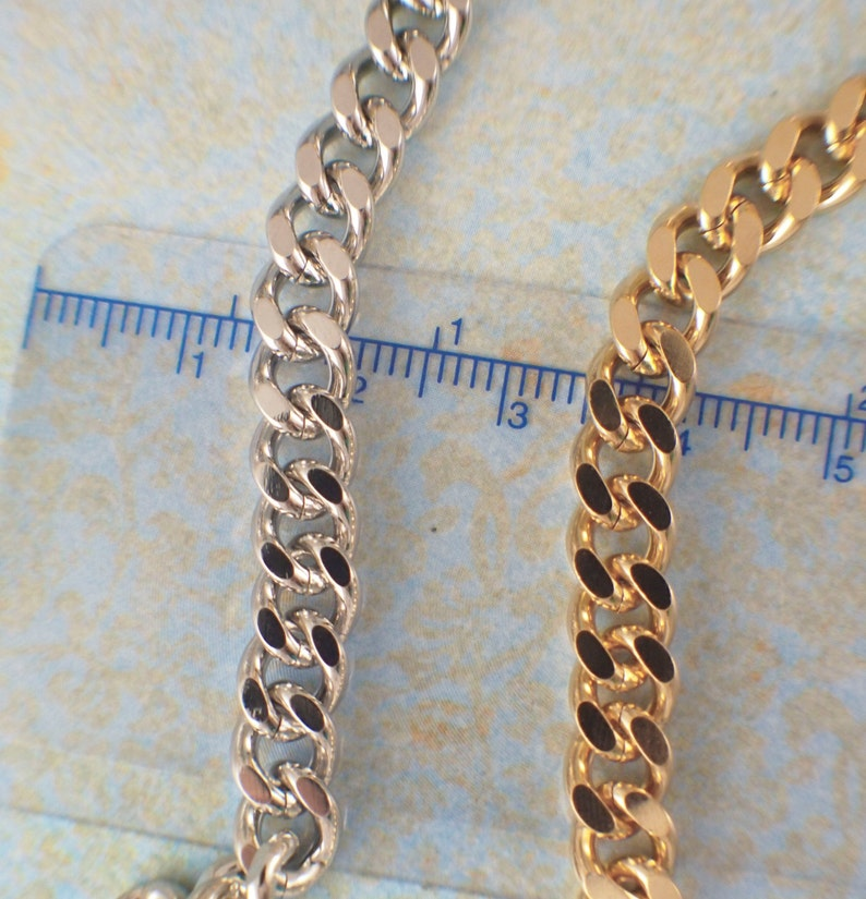 or Rhodium Plated 6.8mm Diamond Cut Curb Chain 18kt Gold Made in the USA You Pick Length 14kt Gold