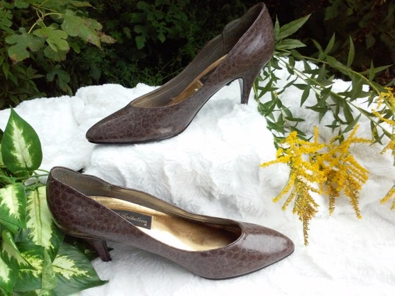a9ec03209 shoes   80s vintage   faux snakeskin   pumps   sz 10M   faux