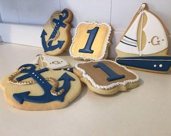 Gold Nautical Sailing Birthday Monogram First Birthday Decorated Cookies