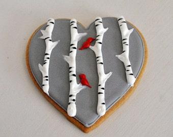Valentines Cookie Lovebird Twigg Hand Decorated Sugar Wedding Favors