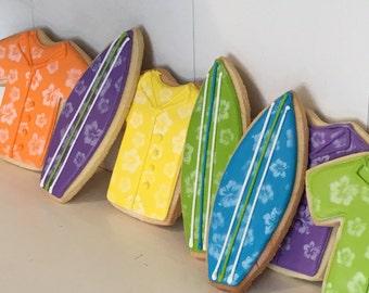 Hawiian shirt surfboards hand decorated sugar cookies - 12 cookies
