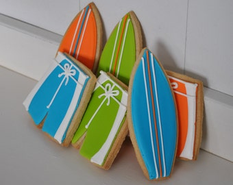 Surfboard Hand Decorated Sugar Cookies - 1 Dozen