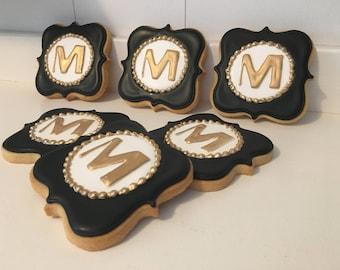 Monogram Hand Decorated Iced Cookies - 1 Dozen