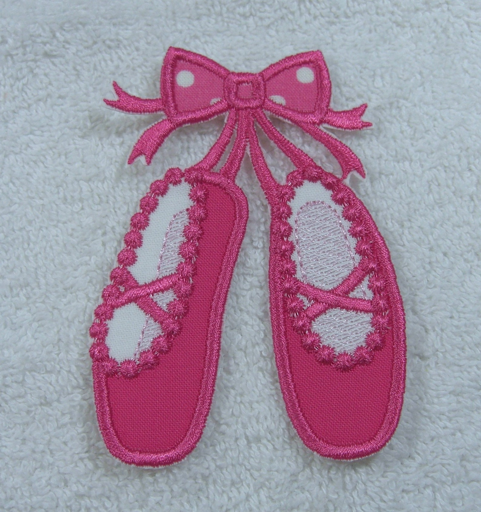 pink ballerina ballet slippers applique fabric embroidered iron on applique patch ready to ship