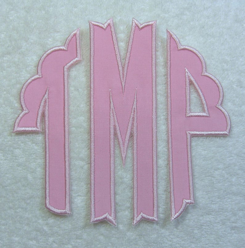 Fabric Embroidered Iron On Applique Patch MADE TO ORDER Triple Scallop Monogram Large
