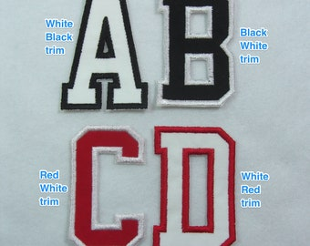 3 Inch Varsity/Letterman Letters with Contrasting Trim Fabric Embroidered Iron on Applique Patch Made to Order
