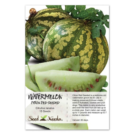 Watermelon Seeds, Citron Red Seeded (Citrullus lanatus) Non GMO Seeds by Seed Needs