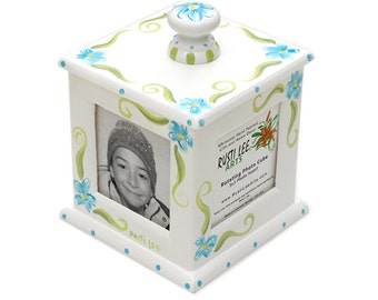 Blue Flowers Rotating Photo Frame Cube