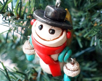 SNOWMAN Snowbot Sei Robot Jet-Pack WIGGLY ARMS Geeky Christmas Ornament