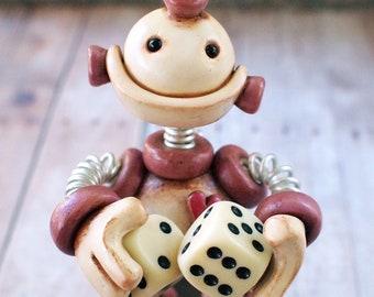 Dice Thief Grungy Bot Mini Robot Sculpture | Purple White | Techie Gamer Gift | Gothic Gift