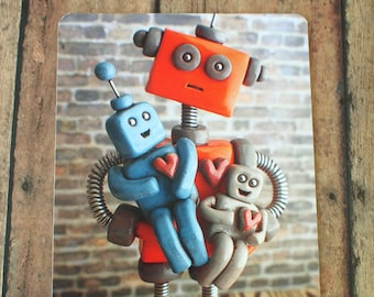 Robot Father parent with robot children Art Postcard Techie Gift Geeky Love Gift