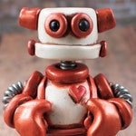 Rosemout the Mini Robot Sculpture Rustic Grump Companion TECHIE Gift  One Of A Kind Keepsake