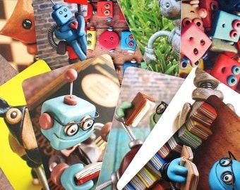 Robot Art Print Postcard Set Of 4 Mystery Assortment Child's Room Cute Geek Decor PERFECT FOR FRAMING
