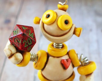 Dice Thief Grungy Bot Mini Robot Sculpture | Yellow White | Techie Gamer Gift | Dice Fan Gift