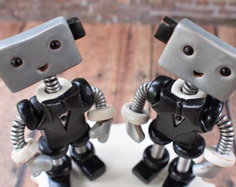 Robot Wedding Cake Topper READY TO SHIP Two Grooms Male Male Gay Couple Bow Tie (4 inches) [free shipping]