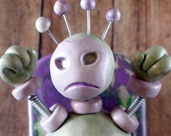 Hulk Bot MINI WALL ART 3D Robot Sculpture - Clay, Wood, Wire