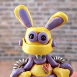 Robot Bunny Mini Sculpture GEEK DECOR Nerdy Animal Lover Gift