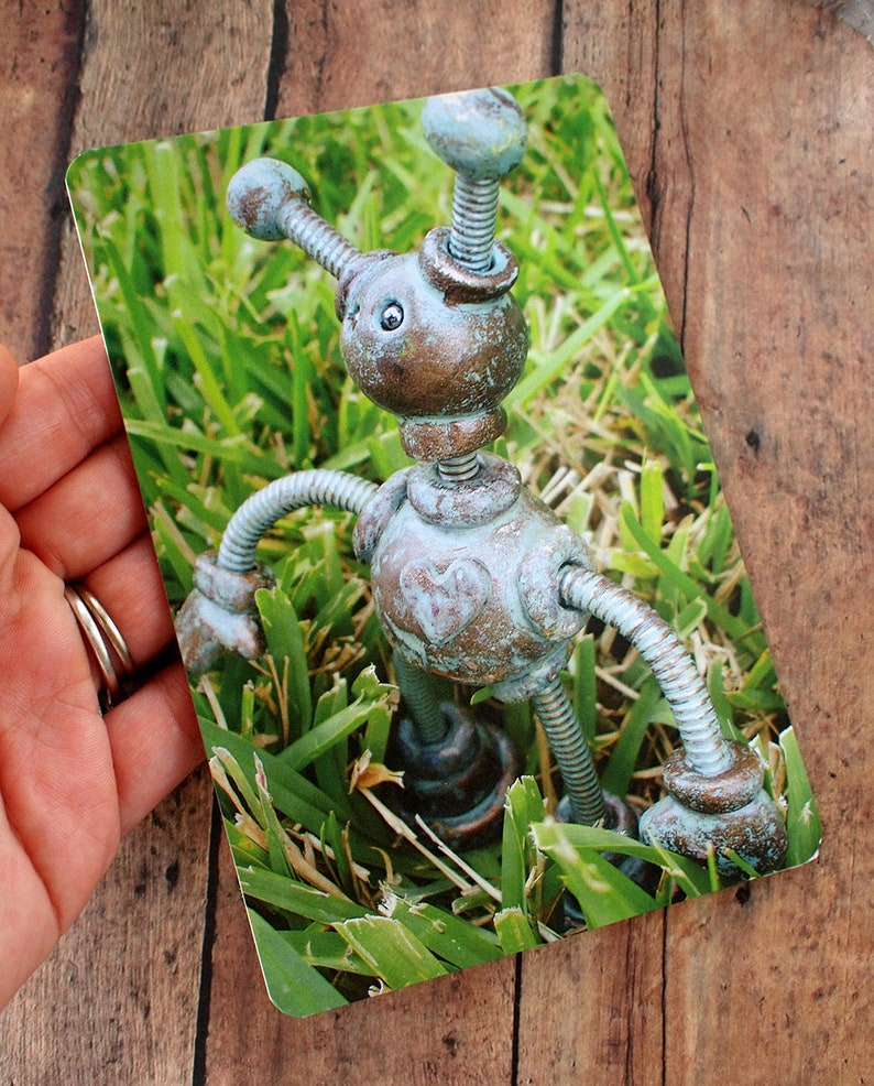 Robot in the Grass Pantia Garden Art Print Postcard Unisex image 0