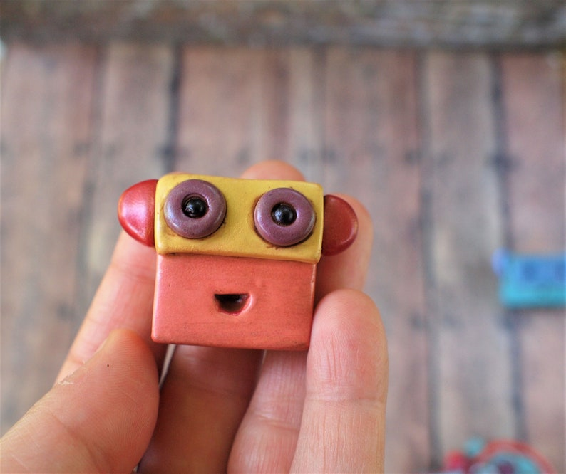 Metallic Pink Yellow Red Purple Silly Cute Robot Face Pin image 0