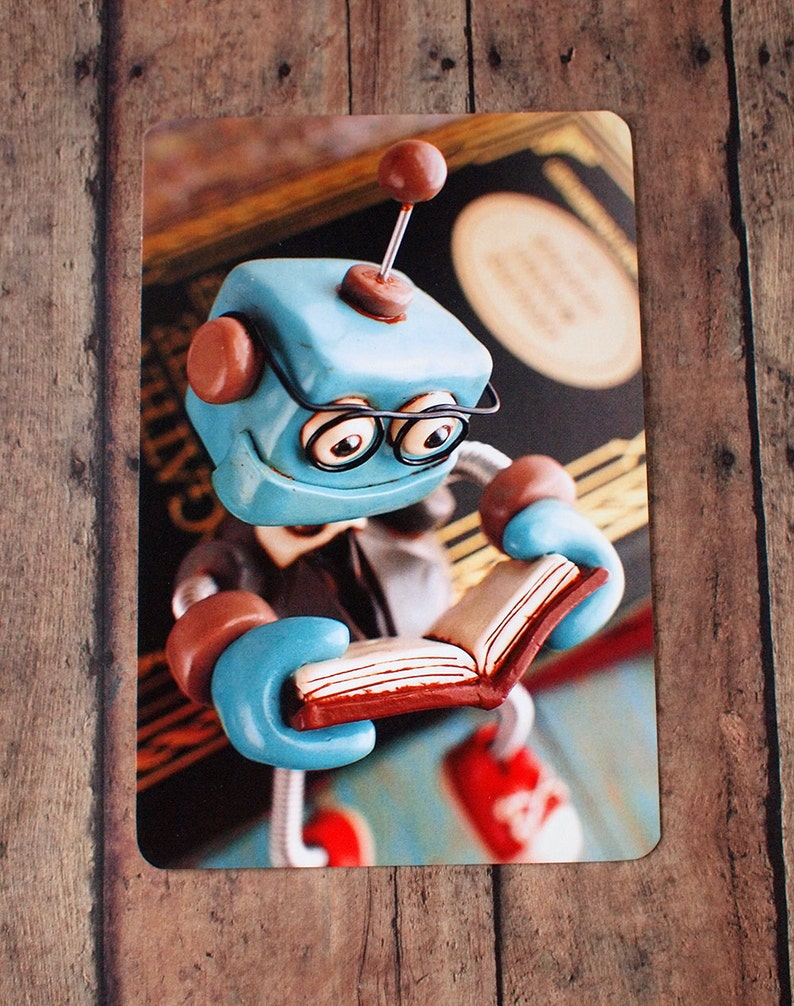 Professor Bot Bixbo Reading a Book Art Postcard Techie Gift image 0