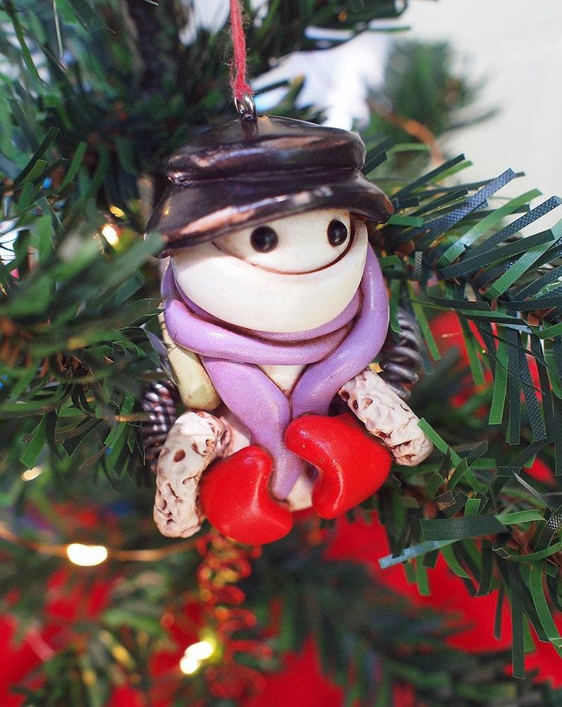 Snowbot Robot Jet-Pack Geeky Snowman Christmas Ornament Unisex image 0