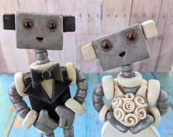 Robot Wedding Cake Topper READY TO SHIP Robot Bride Groom Face Rustic Finish (6 inches)