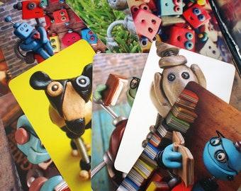 Robot Art Print Postcard Child's Room Wall Geek Decor (Set of 4) PERFECT FOR FRAMING