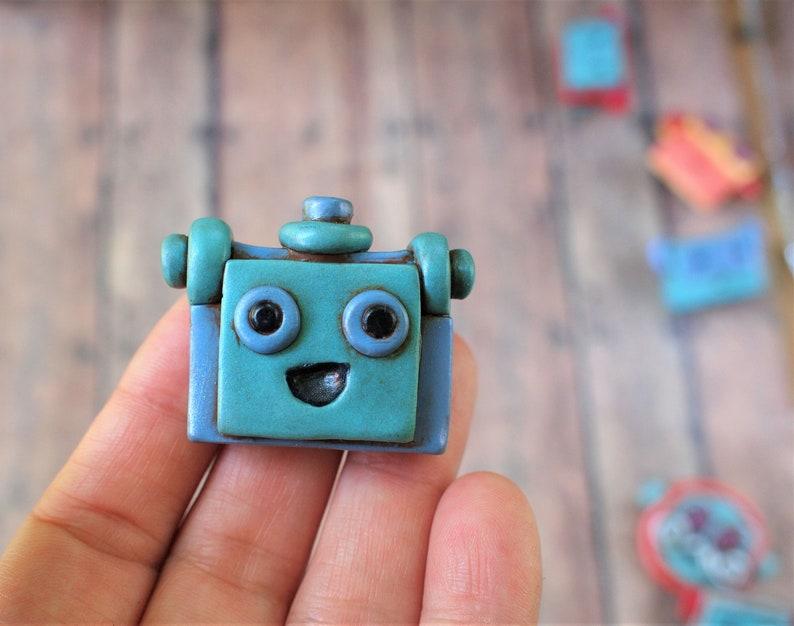 Blue Purple  Robot Face Pin Brooch Nerd Geek Techie Jewelry image 0
