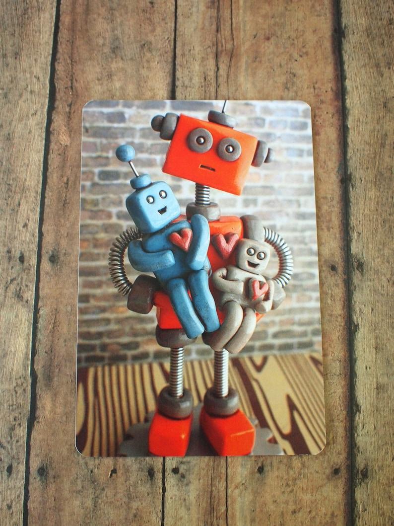 FATHER'S DAY Robot parent with robot children Art Postcard image 0