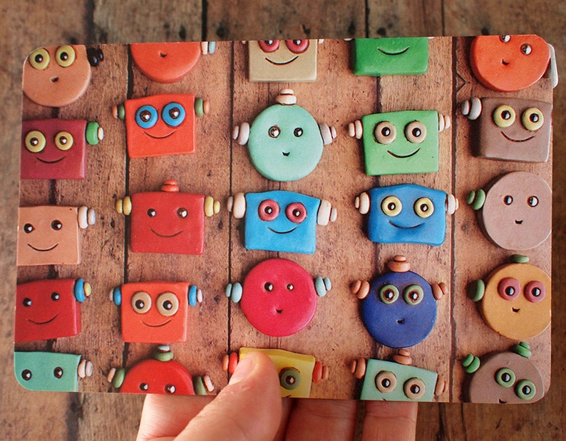 Happy Robot Faces in Rows Art Postcard image 0