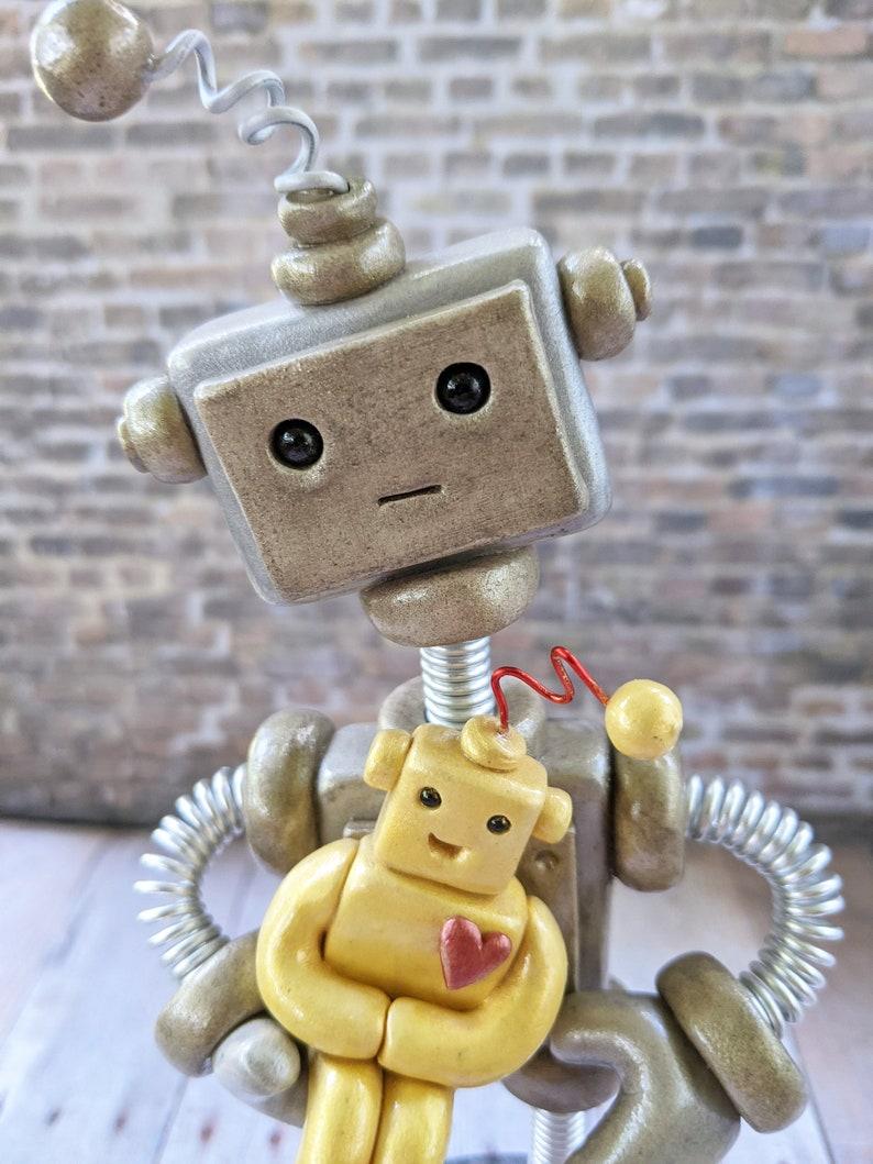 Robot Dad with Robot Child Sculpture  New Parent Gift  image 0