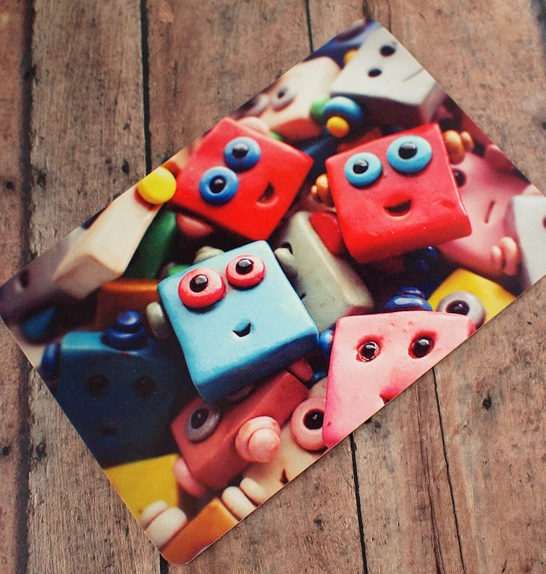 Happy Robot Faces Pile Up Art Print Postcard Unisex Geek Wall image 0