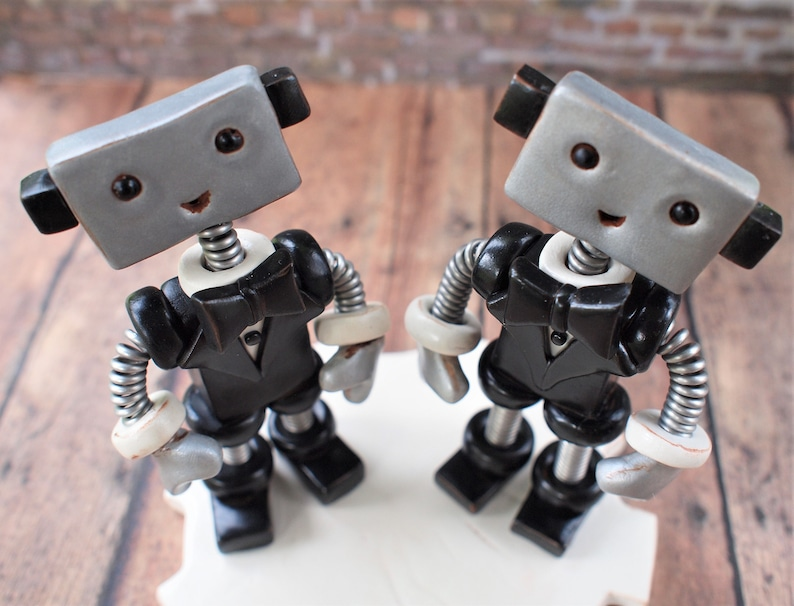 Robot Wedding Cake Topper READY TO SHIP Two Grooms Male Male image 0